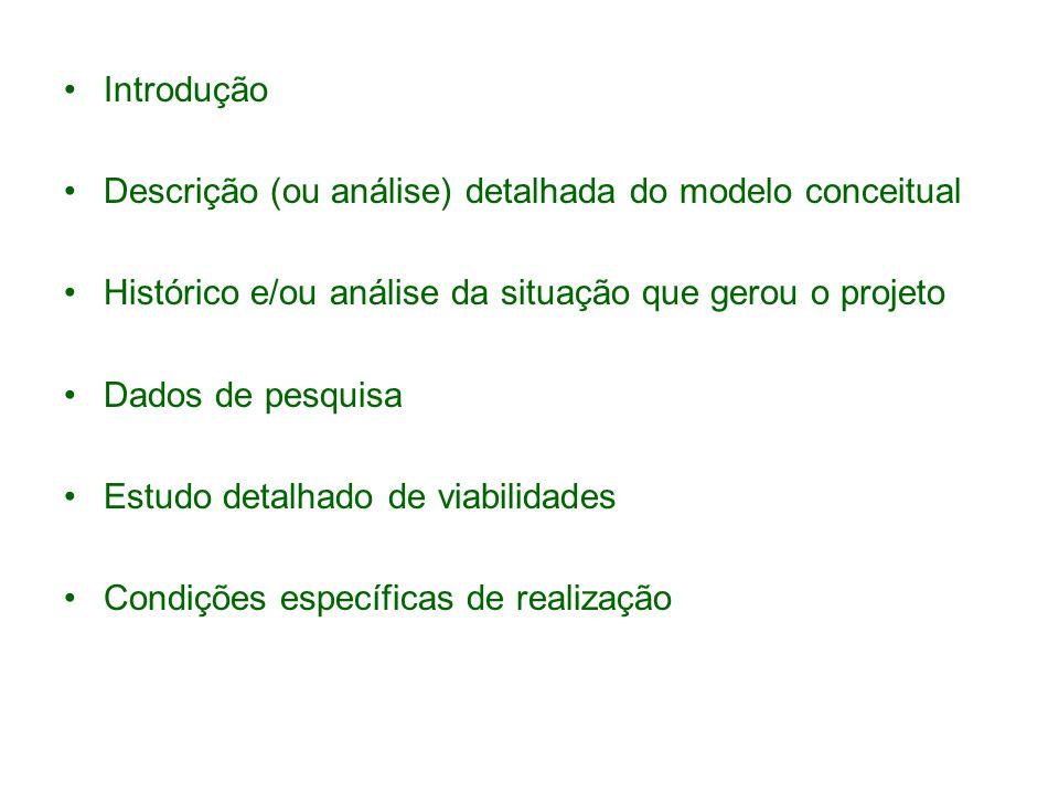 Introdução Descrição (ou análise) detalhada do modelo conceitual. Histórico e/ou análise da situação que gerou o projeto.