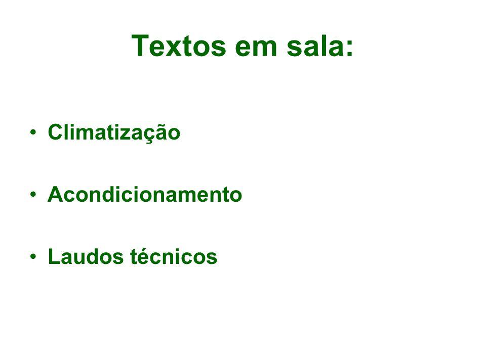 Textos em sala: Climatização Acondicionamento Laudos técnicos