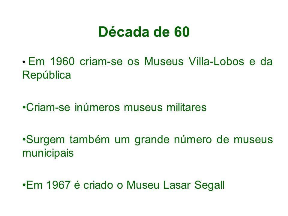 Década de 60 Criam-se inúmeros museus militares