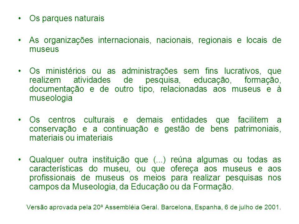 Os parques naturais As organizações internacionais, nacionais, regionais e locais de museus.