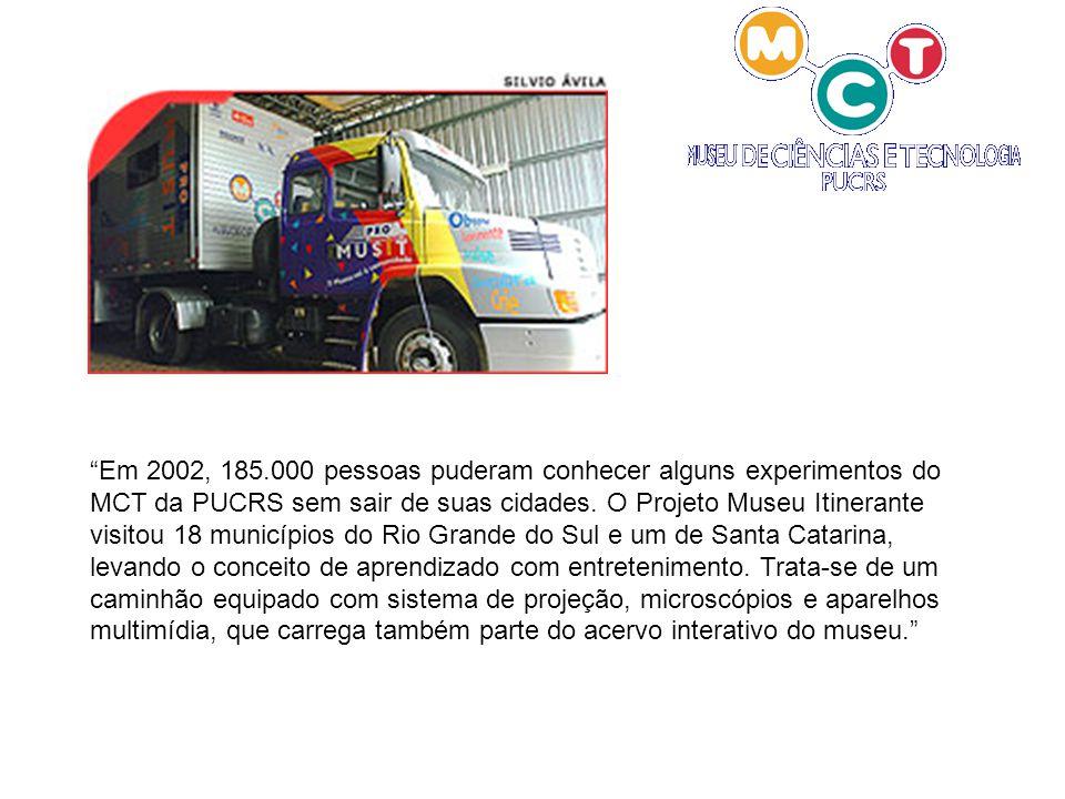 Em 2002, 185.000 pessoas puderam conhecer alguns experimentos do MCT da PUCRS sem sair de suas cidades.