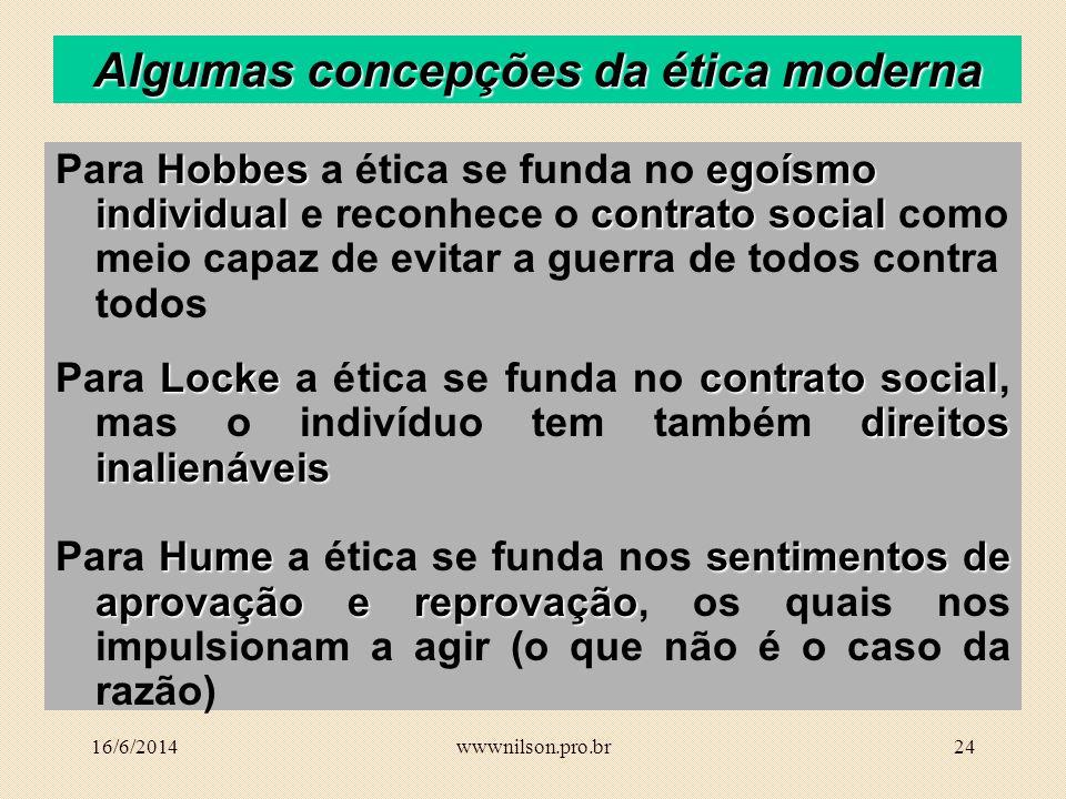 Algumas concepções da ética moderna