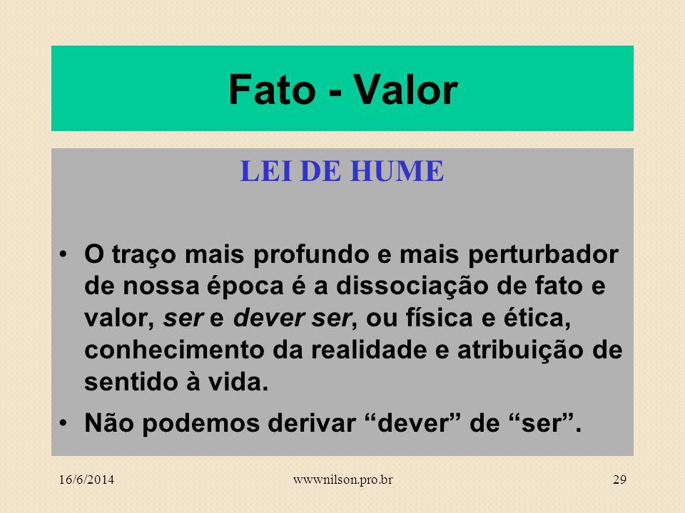Fato - Valor LEI DE HUME.