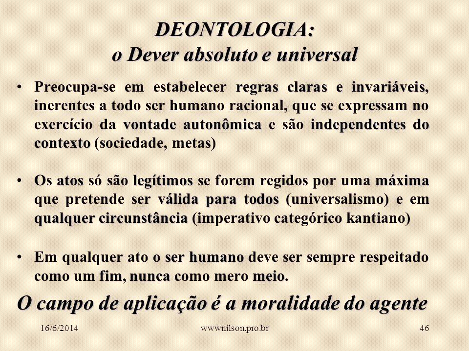 DEONTOLOGIA: o Dever absoluto e universal