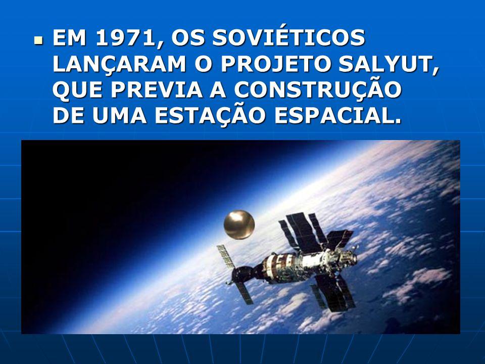 EM 1971, OS SOVIÉTICOS LANÇARAM O PROJETO SALYUT, QUE PREVIA A CONSTRUÇÃO DE UMA ESTAÇÃO ESPACIAL.