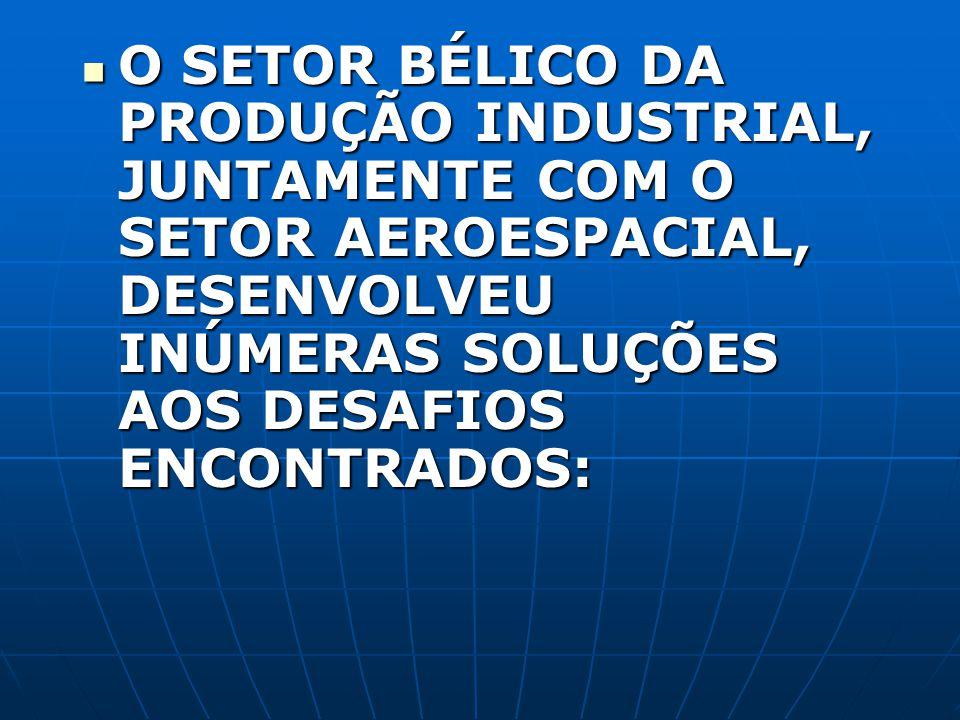 O SETOR BÉLICO DA PRODUÇÃO INDUSTRIAL, JUNTAMENTE COM O SETOR AEROESPACIAL, DESENVOLVEU INÚMERAS SOLUÇÕES AOS DESAFIOS ENCONTRADOS: