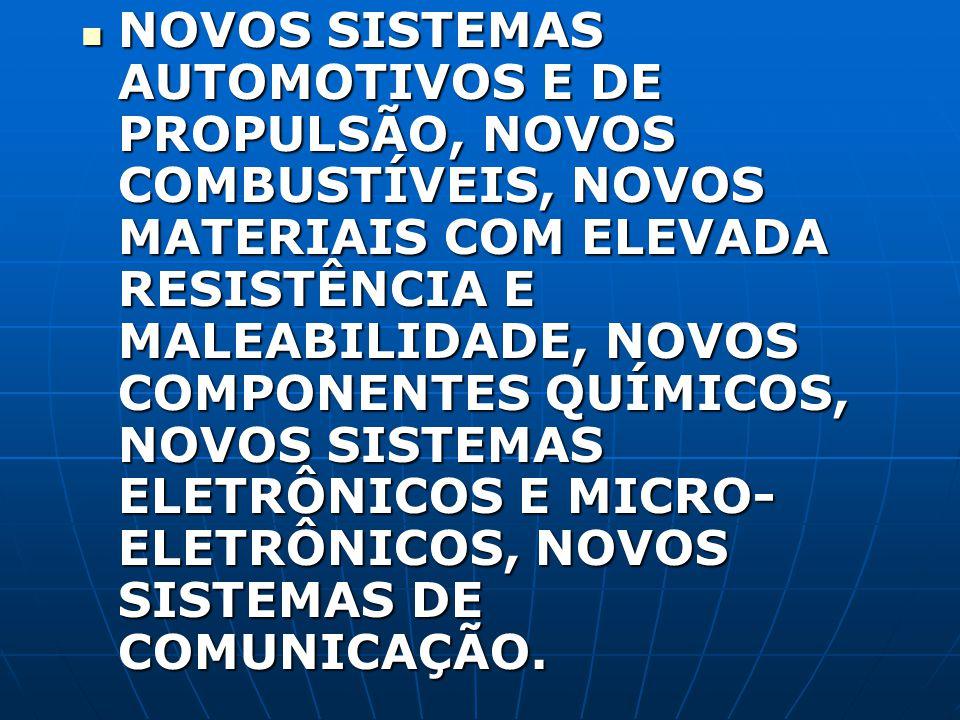 NOVOS SISTEMAS AUTOMOTIVOS E DE PROPULSÃO, NOVOS COMBUSTÍVEIS, NOVOS MATERIAIS COM ELEVADA RESISTÊNCIA E MALEABILIDADE, NOVOS COMPONENTES QUÍMICOS, NOVOS SISTEMAS ELETRÔNICOS E MICRO-ELETRÔNICOS, NOVOS SISTEMAS DE COMUNICAÇÃO.