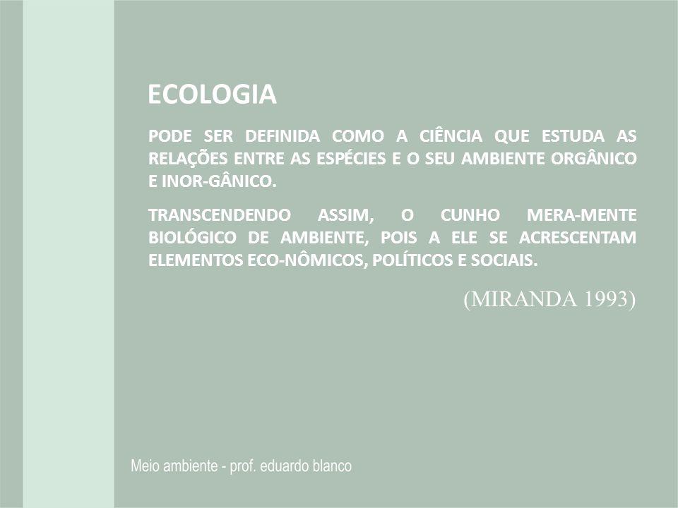 ECOLOGIA PODE SER DEFINIDA COMO A CIÊNCIA QUE ESTUDA AS RELAÇÕES ENTRE AS ESPÉCIES E O SEU AMBIENTE ORGÂNICO E INOR-GÂNICO.