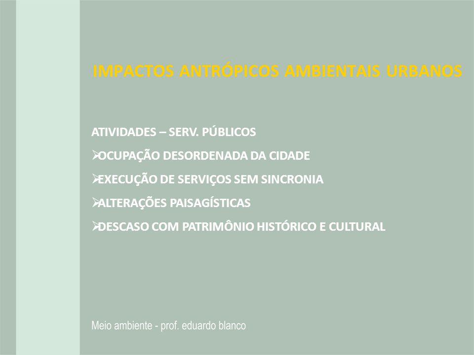 IMPACTOS ANTRÓPICOS AMBIENTAIS URBANOS
