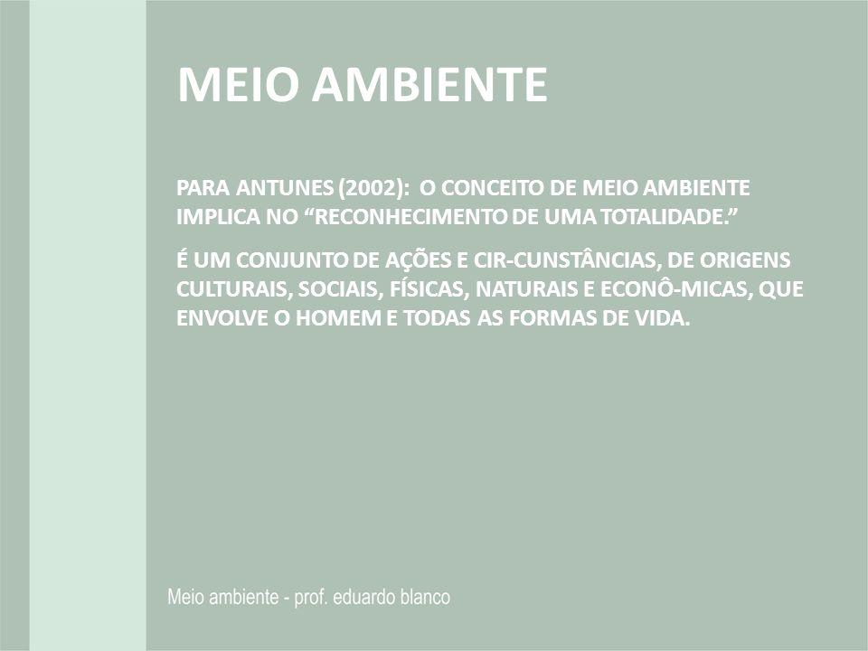 MEIO AMBIENTE PARA ANTUNES (2002): O CONCEITO DE MEIO AMBIENTE IMPLICA NO RECONHECIMENTO DE UMA TOTALIDADE.