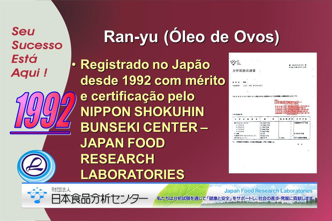Ran-yu (Óleo de Ovos) Registrado no Japão desde 1992 com mérito e certificação pelo NIPPON SHOKUHIN BUNSEKI CENTER – JAPAN FOOD RESEARCH LABORATORIES.