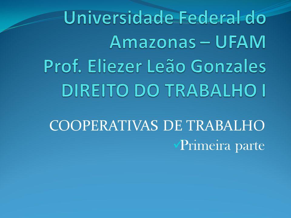 COOPERATIVAS DE TRABALHO Primeira parte