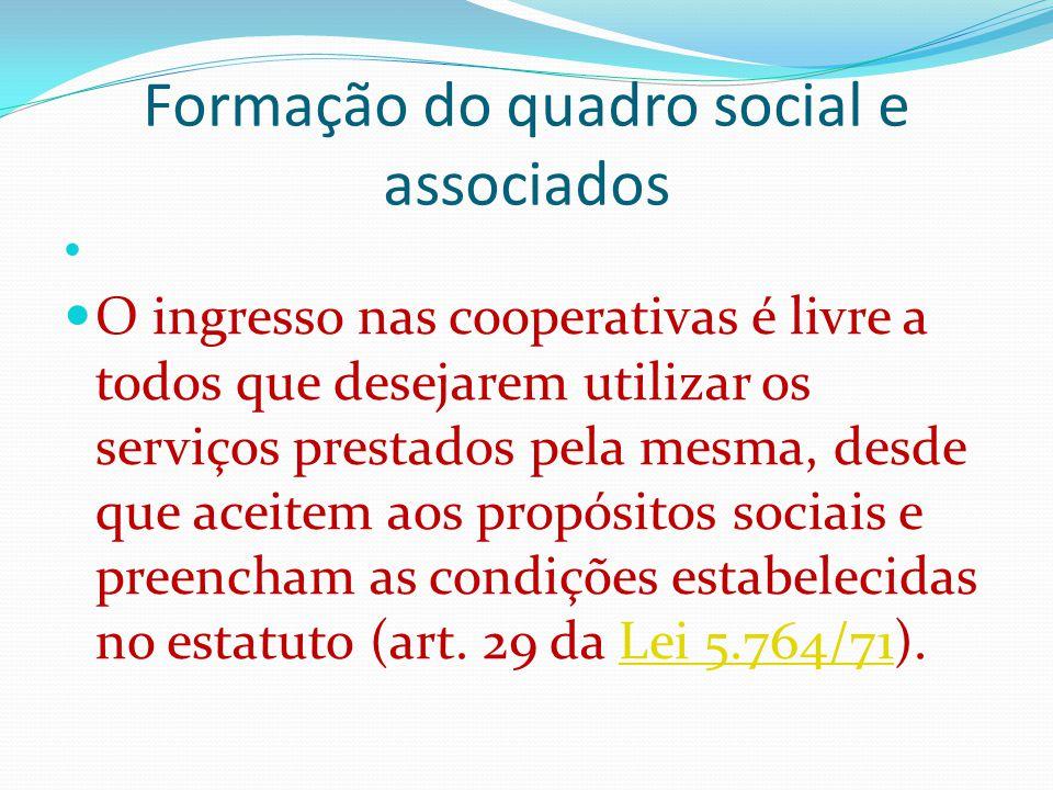 Formação do quadro social e associados