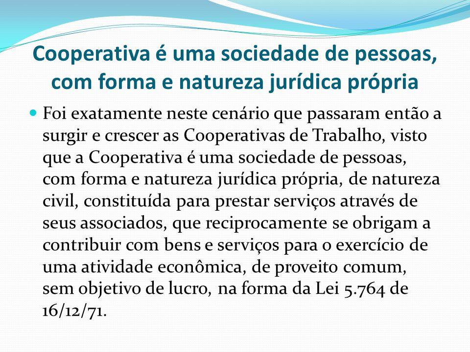 Cooperativa é uma sociedade de pessoas, com forma e natureza jurídica própria