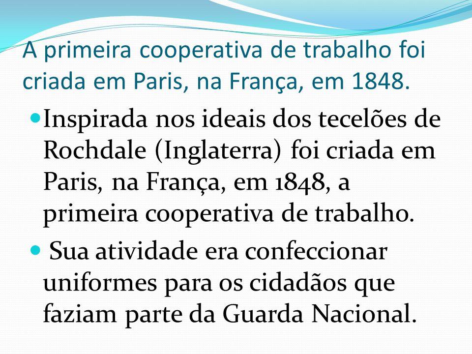 A primeira cooperativa de trabalho foi criada em Paris, na França, em 1848.