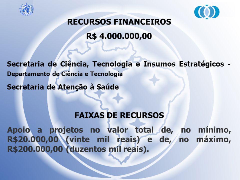 RECURSOS FINANCEIROS R$ 4.000.000,00 FAIXAS DE RECURSOS