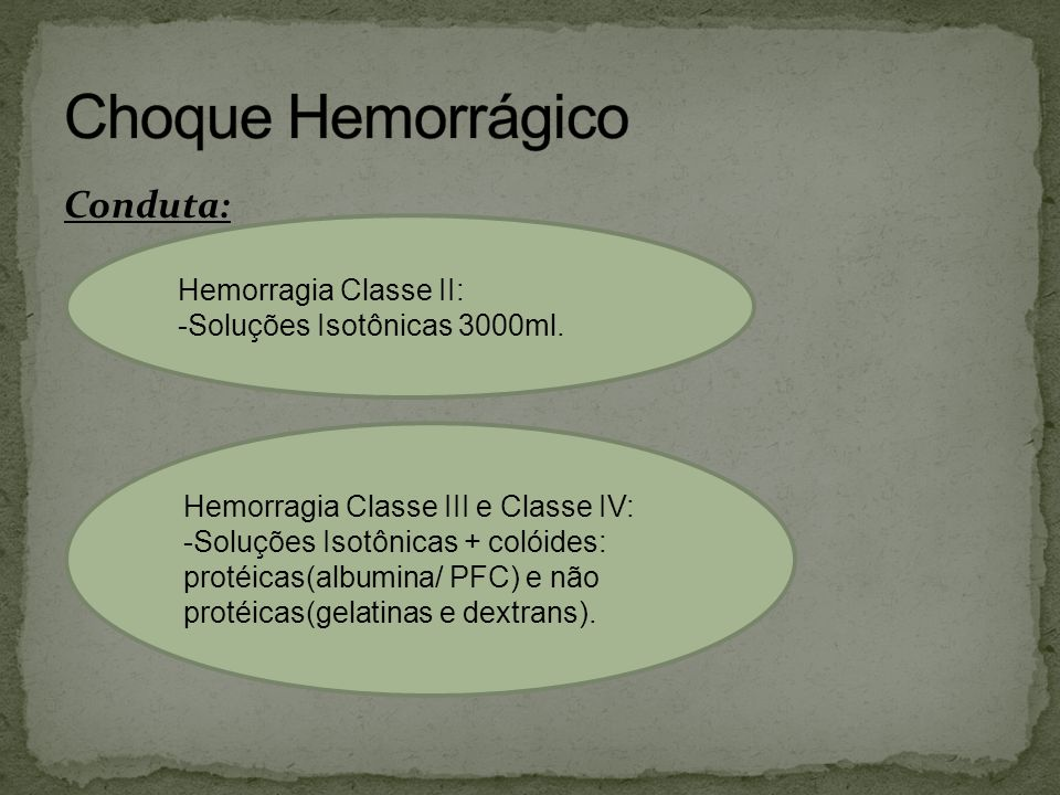 Choque Hemorrágico Conduta: Hemorragia Classe II: