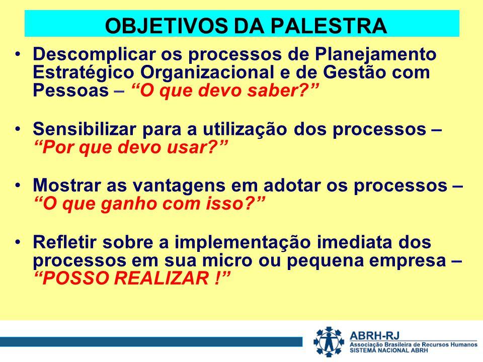 OBJETIVOS DA PALESTRA Descomplicar os processos de Planejamento Estratégico Organizacional e de Gestão com Pessoas – O que devo saber