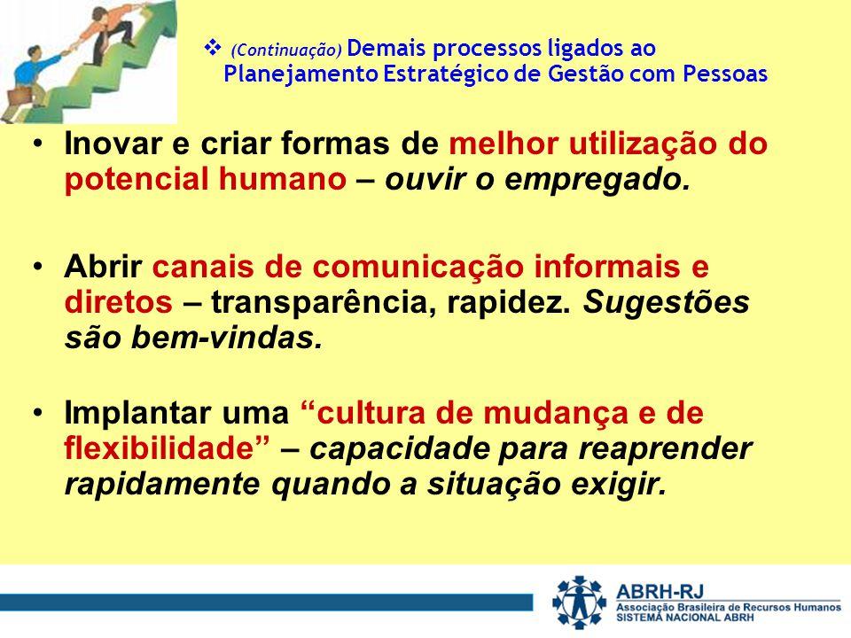 (Continuação) Demais processos ligados ao Planejamento Estratégico de Gestão com Pessoas