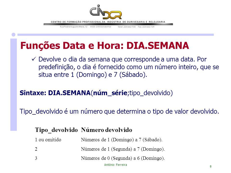 Funções Data e Hora: DIA.SEMANA