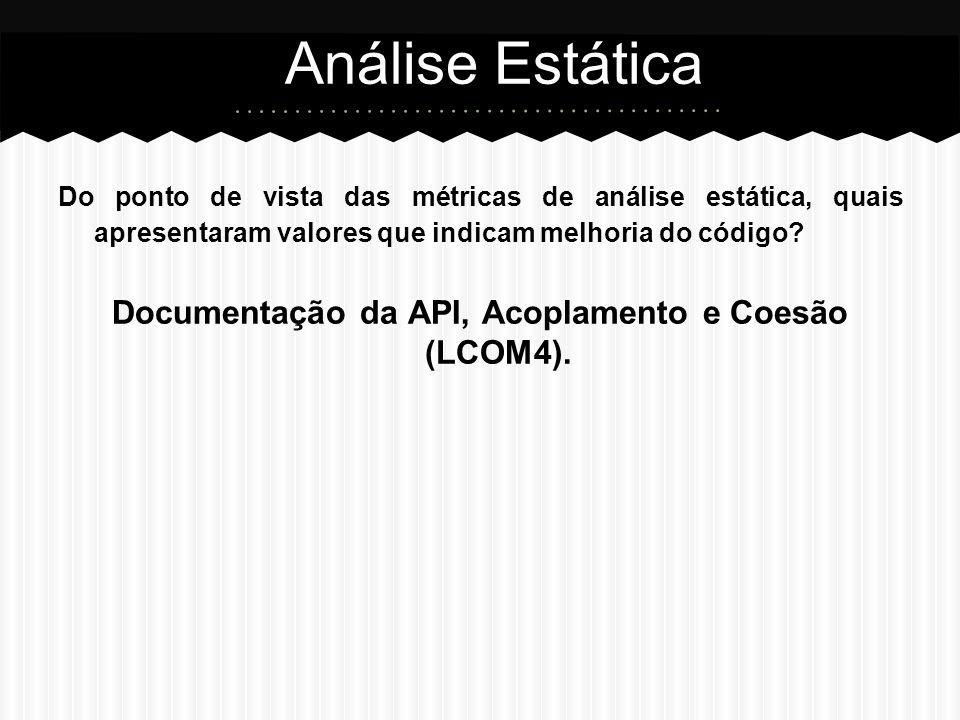 Documentação da API, Acoplamento e Coesão (LCOM4).