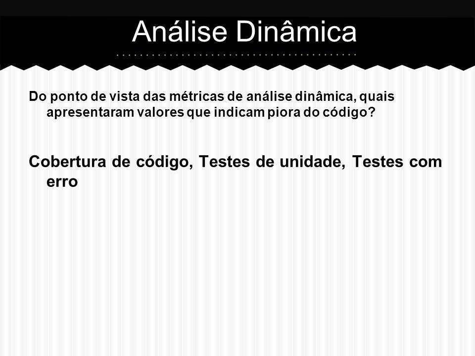 Análise Dinâmica Do ponto de vista das métricas de análise dinâmica, quais apresentaram valores que indicam piora do código