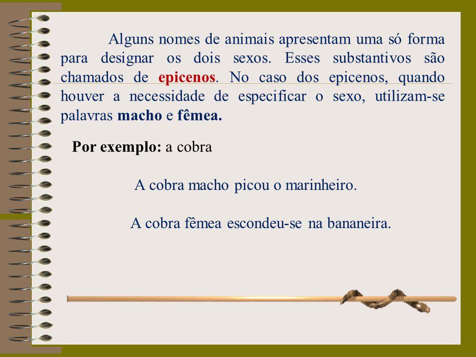 Alguns nomes de animais apresentam uma só forma para designar os dois sexos. Esses substantivos são chamados de epicenos. No caso dos epicenos, quando houver a necessidade de especificar o sexo, utilizam-se palavras macho e fêmea.