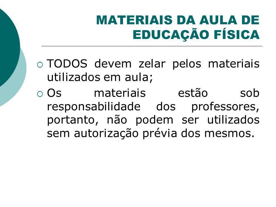 MATERIAIS DA AULA DE EDUCAÇÃO FÍSICA