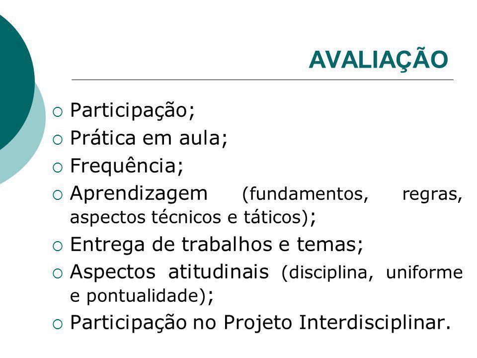 AVALIAÇÃO Participação; Prática em aula; Frequência;