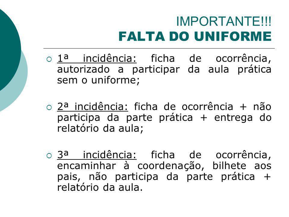IMPORTANTE!!! FALTA DO UNIFORME