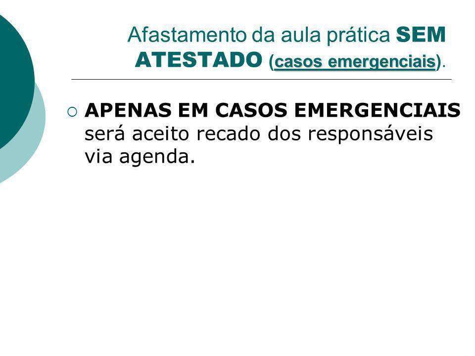 Afastamento da aula prática SEM ATESTADO (casos emergenciais).