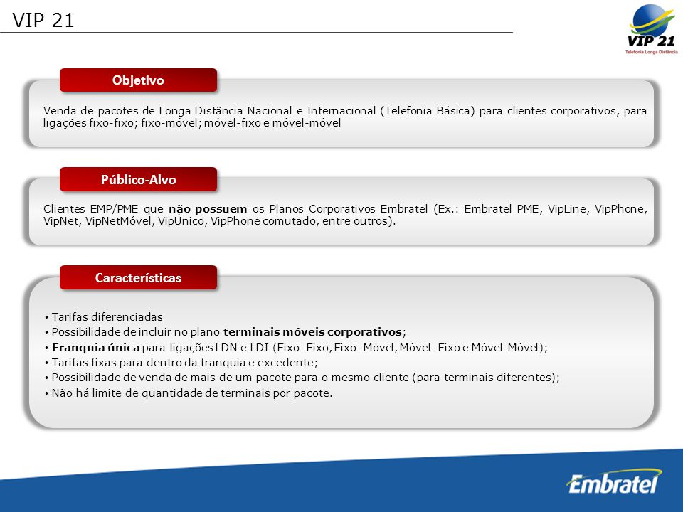 VIP 21 Objetivo Público-Alvo Características