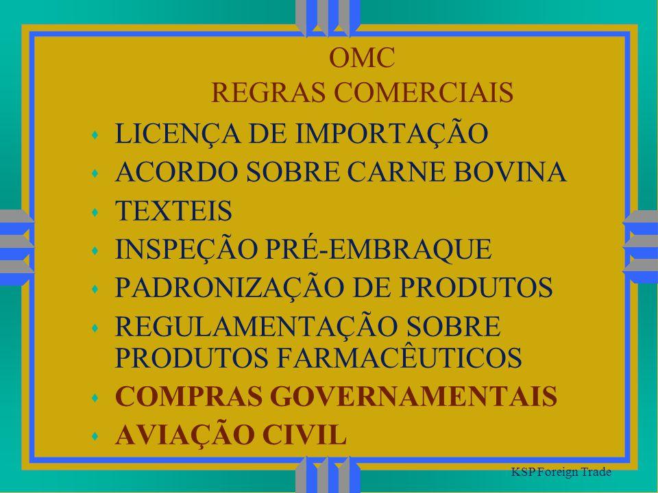 ACORDO SOBRE CARNE BOVINA TEXTEIS INSPEÇÃO PRÉ-EMBRAQUE