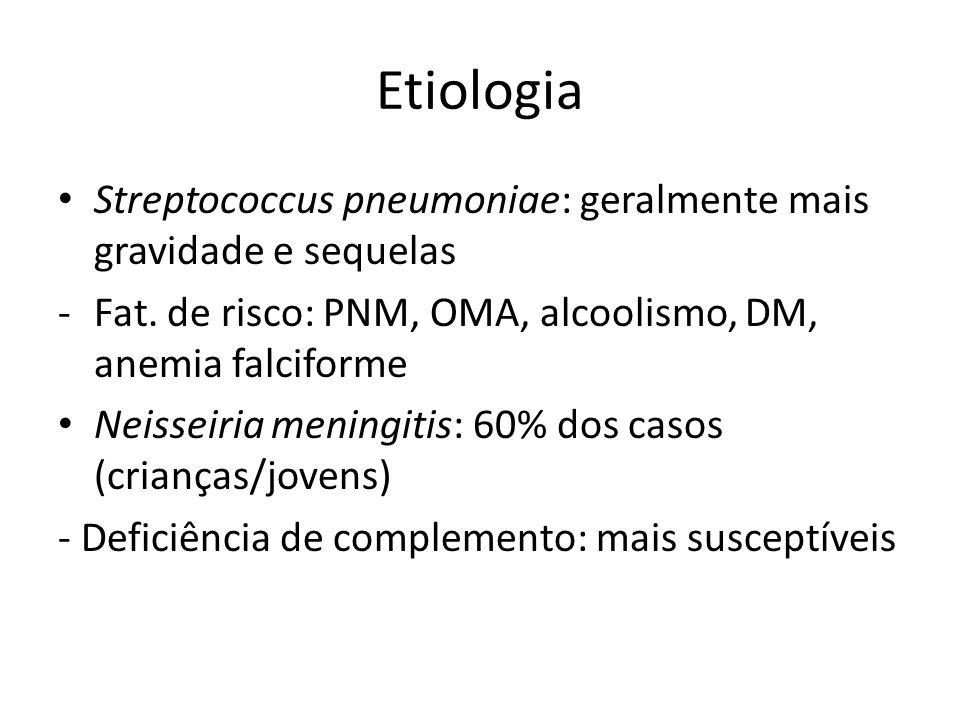 Etiologia Streptococcus pneumoniae: geralmente mais gravidade e sequelas. Fat. de risco: PNM, OMA, alcoolismo, DM, anemia falciforme.