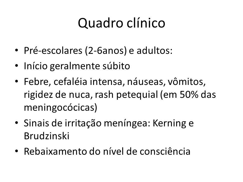 Quadro clínico Pré-escolares (2-6anos) e adultos: