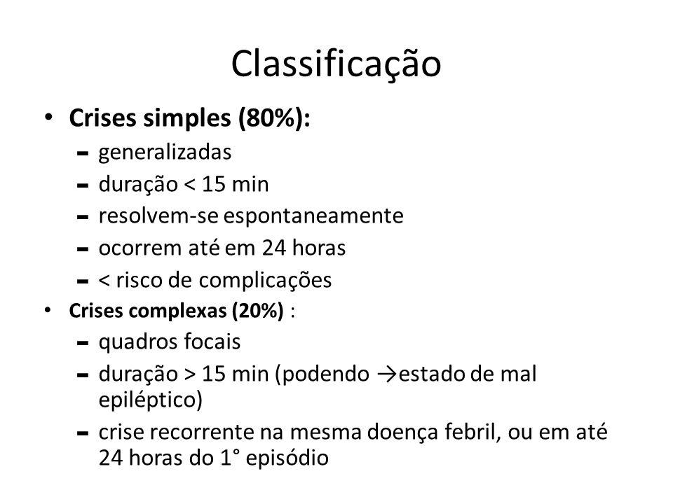 Classificação Crises simples (80%): generalizadas duração ˂ 15 min