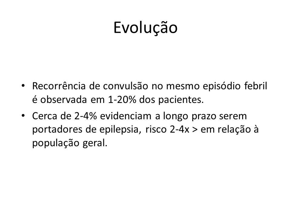 Evolução Recorrência de convulsão no mesmo episódio febril é observada em 1-20% dos pacientes.