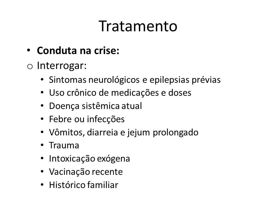 Tratamento Conduta na crise: Interrogar: