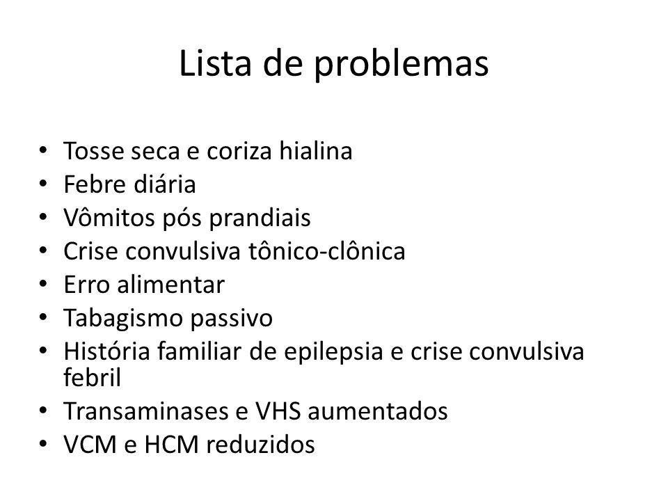 Lista de problemas Tosse seca e coriza hialina Febre diária