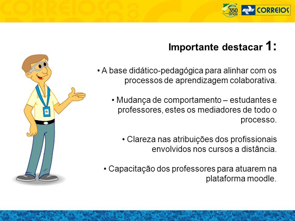 Importante destacar 1: A base didático-pedagógica para alinhar com os processos de aprendizagem colaborativa.