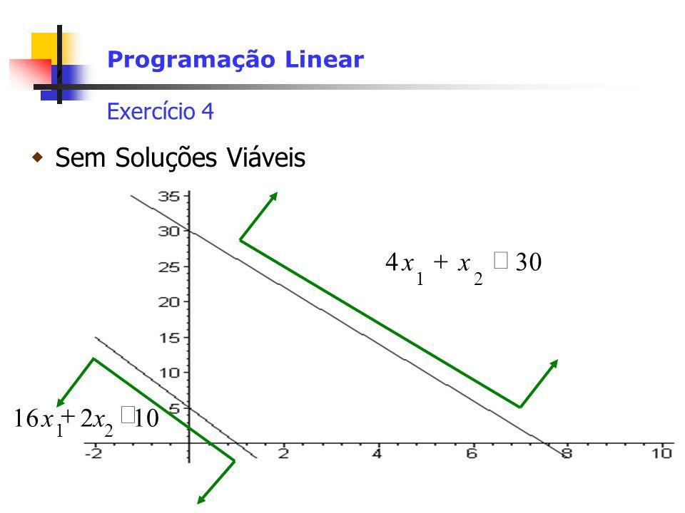 Sem Soluções Viáveis ³ + 30 4 x 10 2 16 £ + x Programação Linear