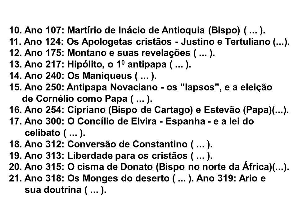 10. Ano 107: Martírio de Inácio de Antioquia (Bispo) ( ... ).