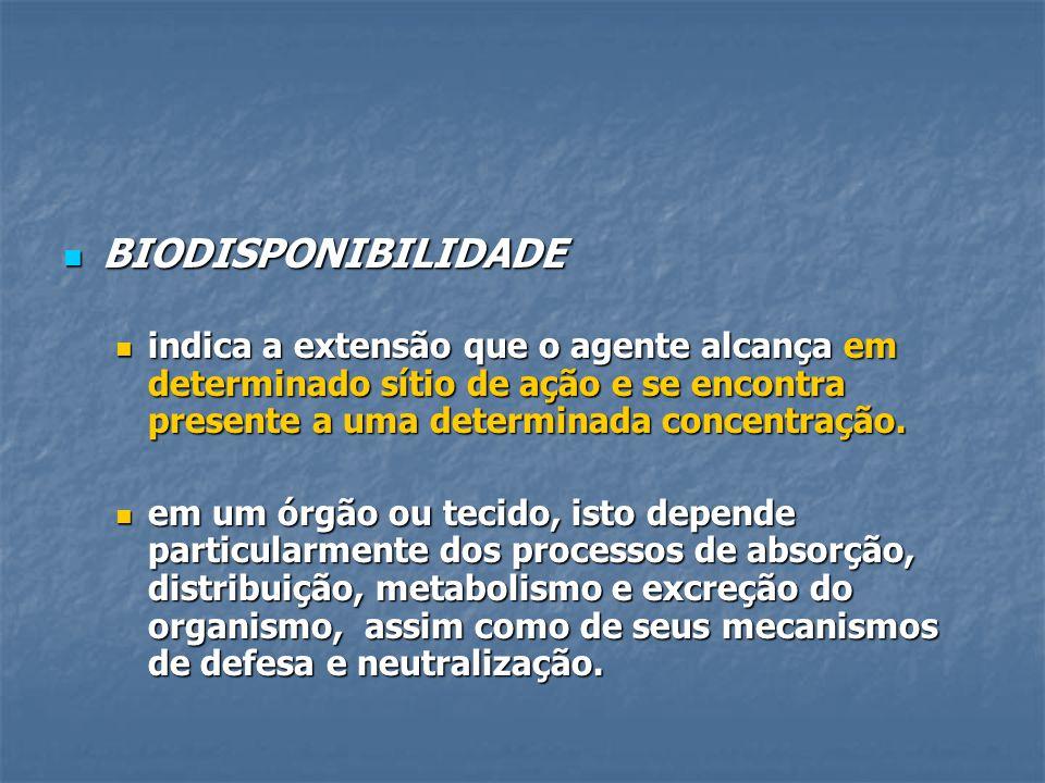 BIODISPONIBILIDADE indica a extensão que o agente alcança em determinado sítio de ação e se encontra presente a uma determinada concentração.