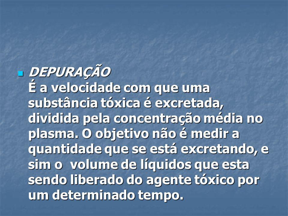 DEPURAÇÃO É a velocidade com que uma substância tóxica é excretada, dividida pela concentração média no plasma.