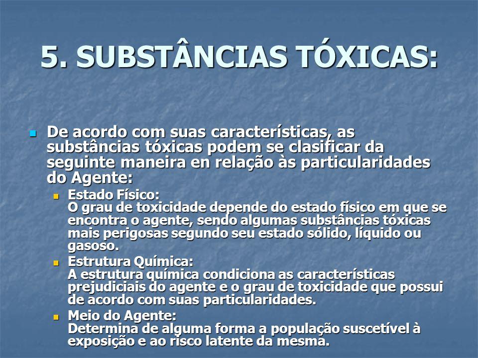5. SUBSTÂNCIAS TÓXICAS: