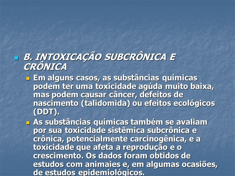 B. INTOXICAÇÃO SUBCRÔNICA E CRÔNICA