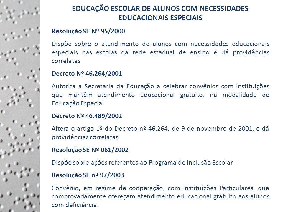 EDUCAÇÃO ESCOLAR DE ALUNOS COM NECESSIDADES EDUCACIONAIS ESPECIAIS