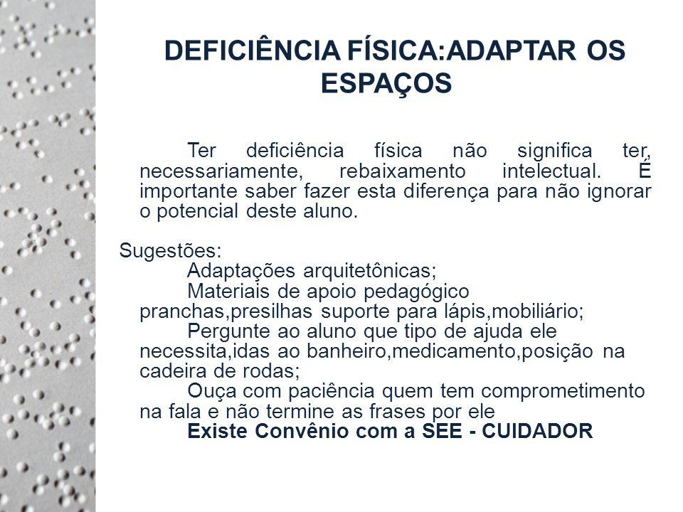 DEFICIÊNCIA FÍSICA:ADAPTAR OS ESPAÇOS