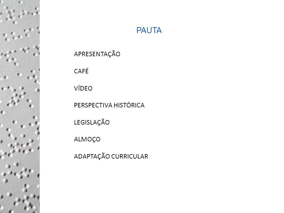 PAUTA APRESENTAÇÃO CAFÉ VÍDEO PERSPECTIVA HISTÓRICA LEGISLAÇÃO ALMOÇO