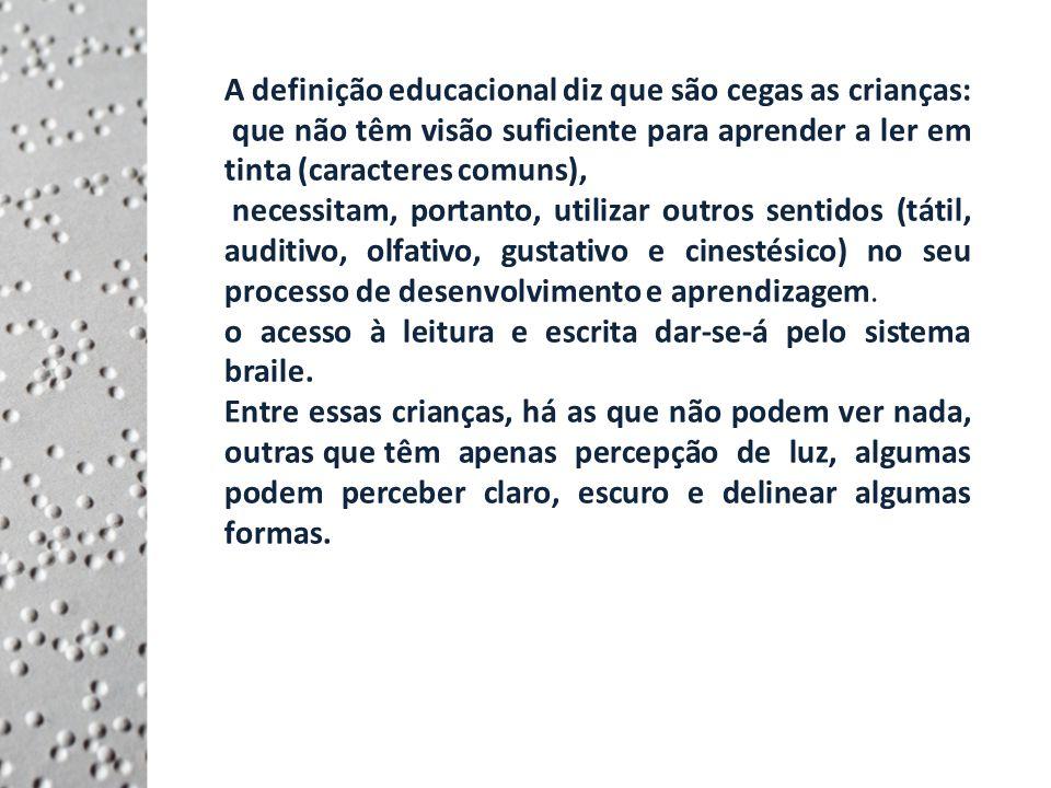 A definição educacional diz que são cegas as crianças:
